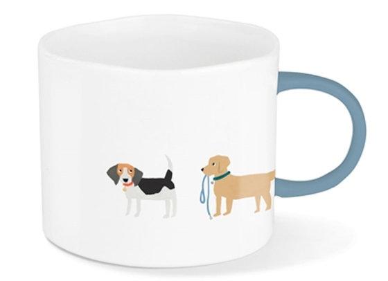 White ceramic mug with cute dog designs blue handle
