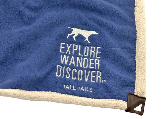 Adorable, comfy & soft dogie blanket 100% polyester, pretty blue with beige trim & non leather corner