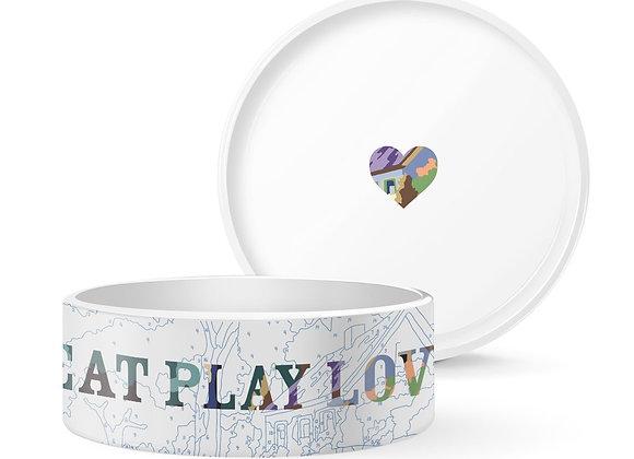 Eat, Play, Love Ceramic Dog Bowl