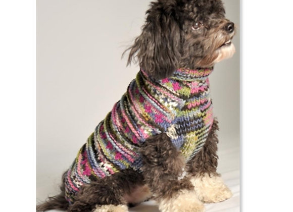 Multi color WoodStock Cable Knit Dog Sweater