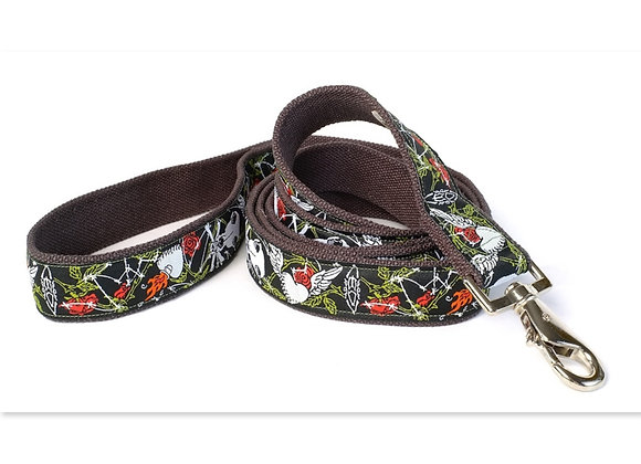 Black background with white, green, red design hemp leash, eco-friendly, soft touch in hand and on dog's neck, hypoallergenic