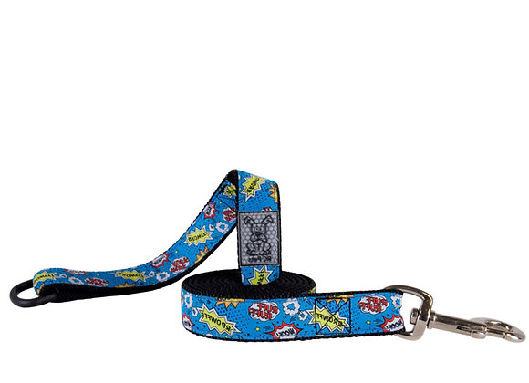 Dog Leash RCPETS Blue Comic design, durable reflective material with floating accessory D-ring