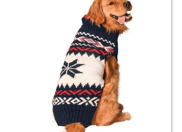 Navy Vail Wool Dog Sweater, hand-made, durable, breathable fabric