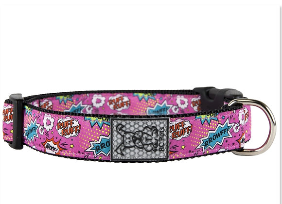 Dog Clip Collar RCPET Pink Comic Sounds Design, clip on clip off, reflective and durable material
