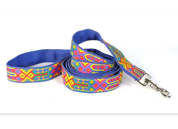 Bright yellow, red, green on blue background, hemp leash, eco-friendly, soft touch in hand and on dog's neck, hypoallergenic