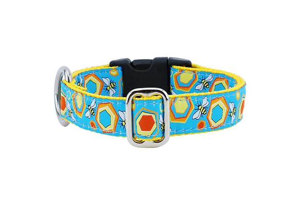 Colorful and unique 1 inch dog collar in sweet bees and honeycomb design with strong webbing