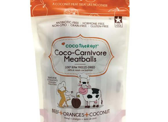 Healthy treats made of beef, orange and coconut chips, no GMO, no byproducts, no antibiotics or hormones