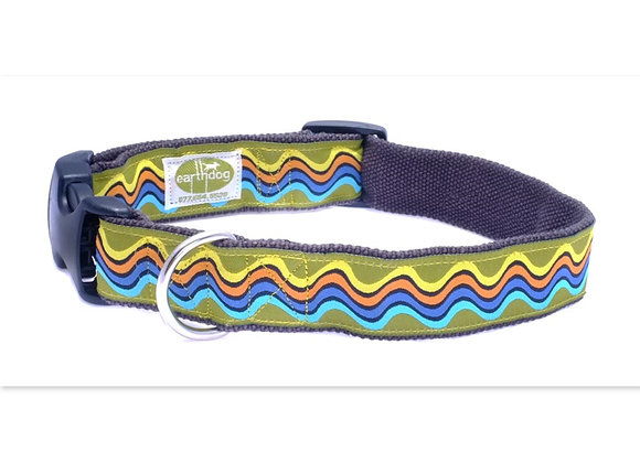 Colorful wave design hemp adjustable dog collar, triple layer, hypoallergenic, great for all day wear