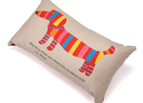 Colorful Wiener Dog Accent Pillow Why fit in when you were born to stand out