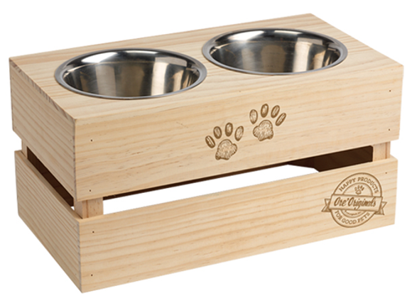 Stainless Steel feeding bowls with fruit-crate stand for older and larger dogs