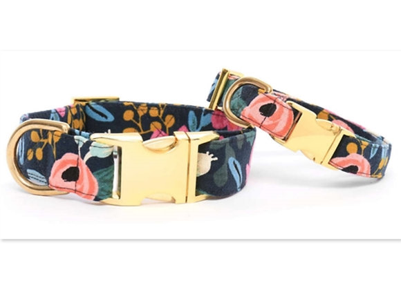 Rosa Floral Navy Dog Collar durable fabric, luxe gold hardware, and a strong nylon core