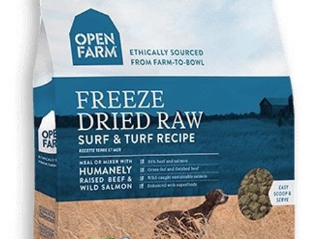 Freeze dried raw dog food, extremely nutritious, antibiotic free, packed with super-food, grain-free, surf and turf