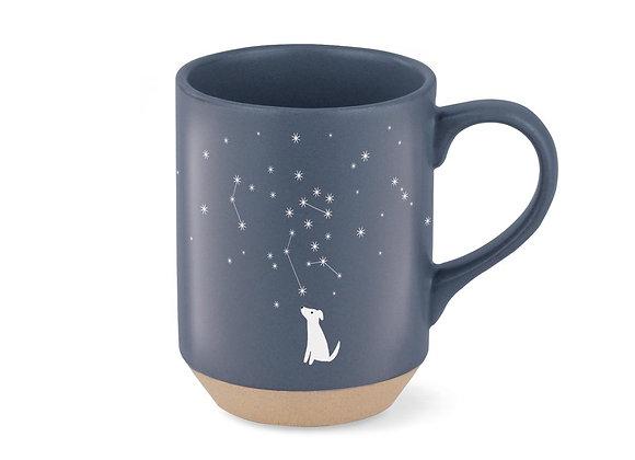 Celestial Dog Stoneware Mug, white dog with stars on blue, colored clay with matte glaze