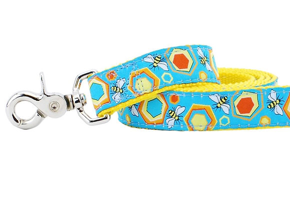 Colorful and unique 5 Ft dog leash in sweet bees and honeycomb design with strong webbing
