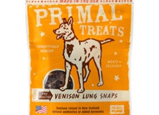 Primal Venison Lung Snaps Dry Roasted Dog Treats, 2-oz. bag