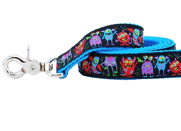 Colorful, unique and fun Monster City dog leash 5 ft with strong webbing