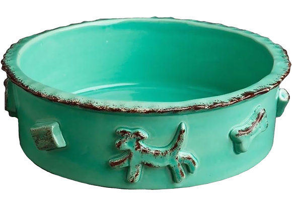 Dog Food And Water Bowl Aqua/Green Hand decorated, durable ceramic, microwave and dishwasher safe