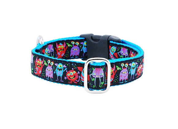 Colorful, unique and fun Monster City 1 inch dog collar with strong webbing