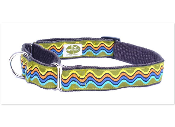 Colorful wave design hemp martingale dog collar, triple layer, hypoallergenic, helps control pulling dogs on walk