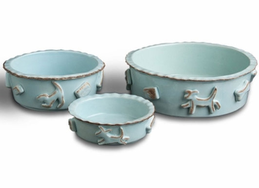 Dog Food And Water Bowl Baby Blue Hand decorated, durable ceramic, microwave and dishwasher safe