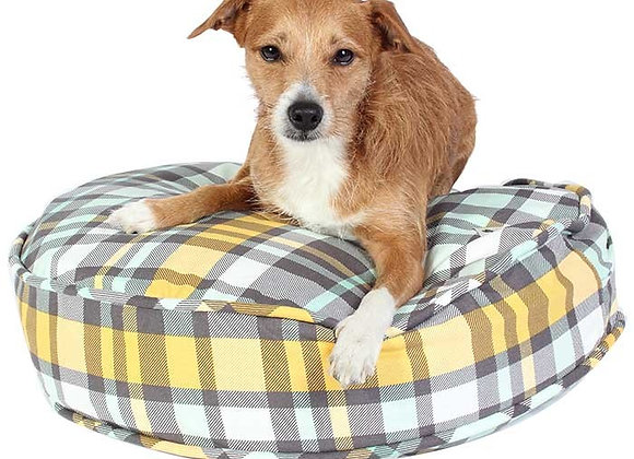 Round Dog Bed, Northwestern Plaid Yellow, White, Grey, comfy
