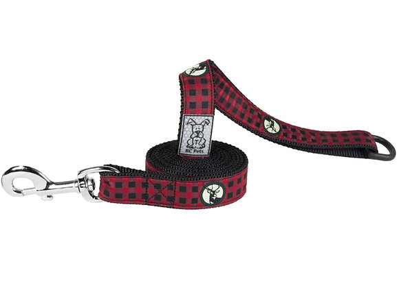 Dog Leash RCPETS Urban Woodsman Design, durable reflective material with floating accessory D-ring