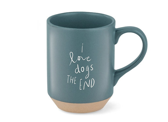 soft dark turquoise mug with I love dogs design,  colored clay stoneware base with matte glaze
