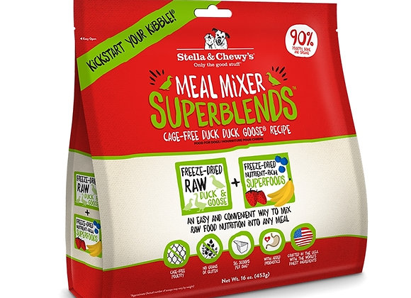 Stella & Chewys Dog  Freeze Dried   Super Blends Mixer  Duck/Chicken  16 oz.