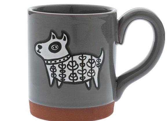 Grey Terra Cotta mug with glazed color interior, black and white dogie design