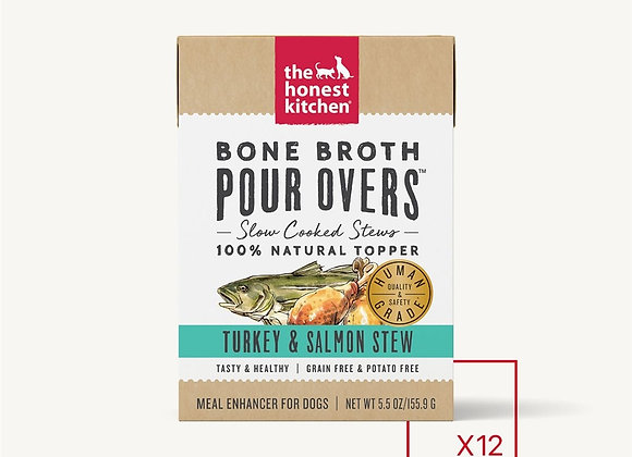 Honest Kitchen  Dog Pour Bone Broth Turkey  Salmon 5.5oz (Case of 12)