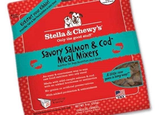Stella & Chewys Freeze Dried Dog  Food-Mixers Salmon Cod 9OZ