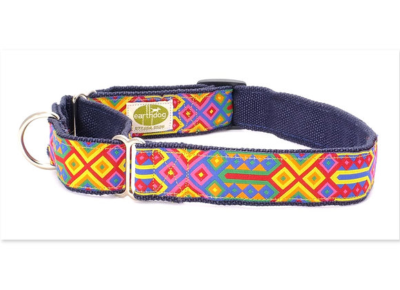 Colorful hemp martingale dog collar, triple layer, hypoallergenic, helps control pulling dogs on walk