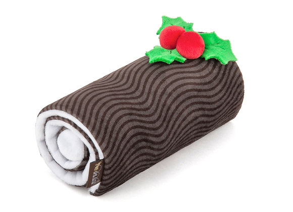 Holiday Yule Log Doggie Squeak-and-Crinkle Toy