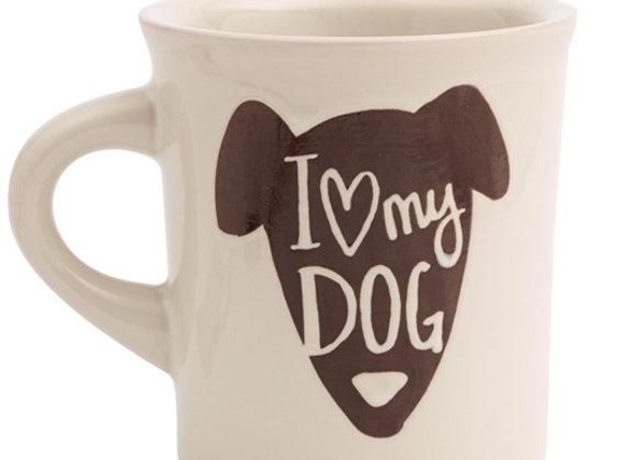 "Cream color coffee mug with ""I heart my dog"" design, lead-free, non-toxic, dishwasher safe"