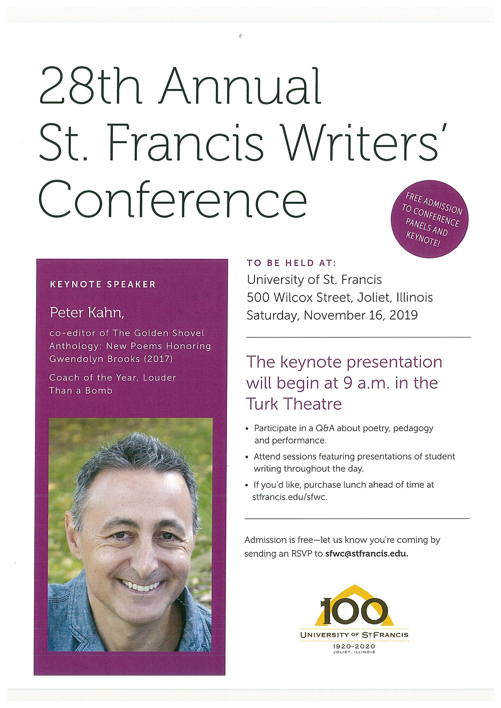 Flier courtesy of the University of St. Francis
