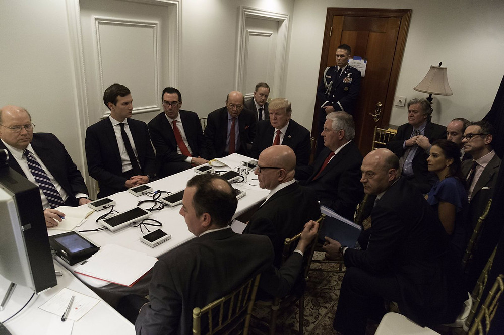 Trump created a makeshift Situation Room at Mar-a-Lago for a briefing on the Syria bombing, photo courtesy of the White House