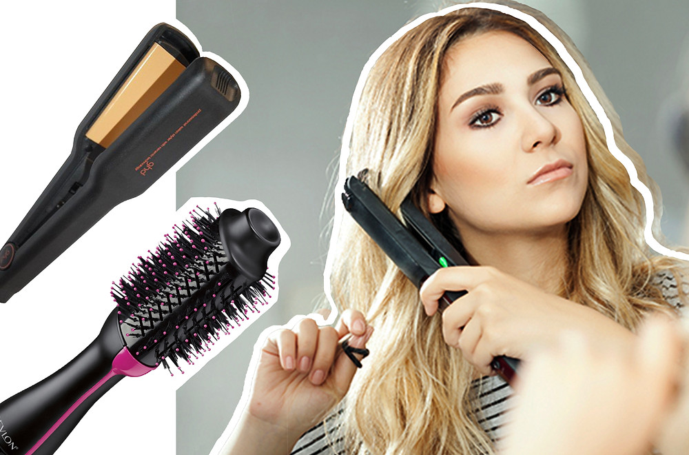 Revlon One-Step Hair Dryer And Volumizer Hot Air Brush, ghd Classic Max Styler images via Revlon Hair Tools website, MakeUp Alley website and Groupon website