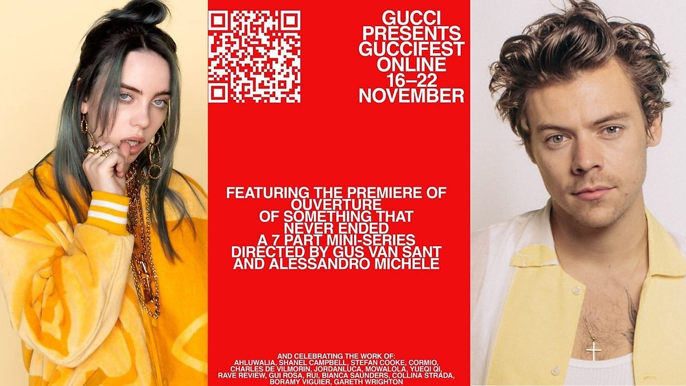 Billie Eilish, Harry Styles, GucciFest image via Indigo Music website