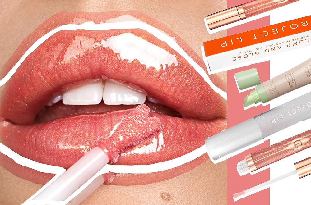 Charlotte Tilbury Lip Bath, Project Lip Plum and Gloss XLPlump and Collagen Lip Gloss 3.8ml, Pixi Collagen Lip Gloss images via Charlotte Tilbury website, Cult Beauty website, and Look Fantastic website