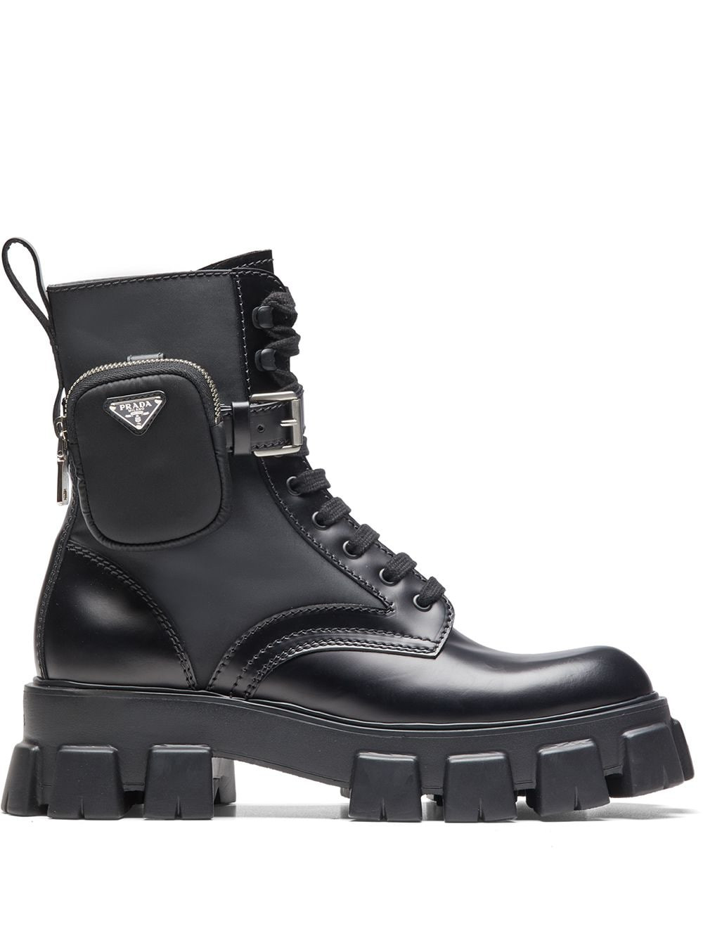 Prada ankle pouch combat boots image via Farfetch website