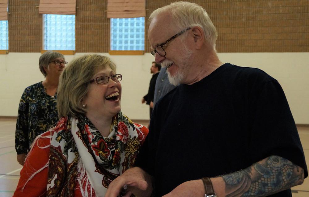 Joanna and Steve Higgins before a class