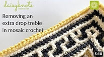 Removing an extra drop treble in mosaic crochet