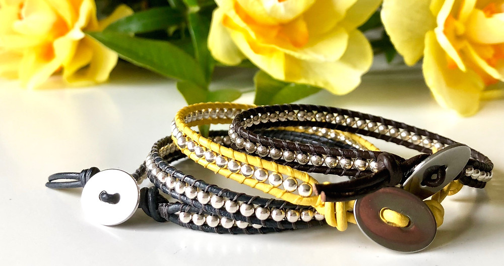 An easy to make, leather and sterling silver boho bracelet