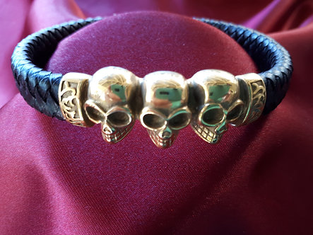Stainless Steel Gold Plated/Leather Triple Skull Bracelet