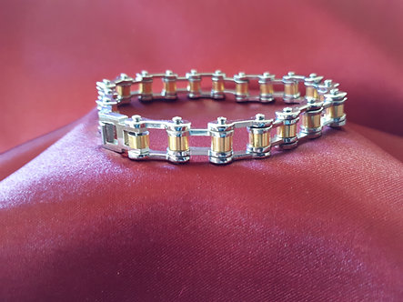 Stainless Steel/Gold Plate Bike Chain Bracelet