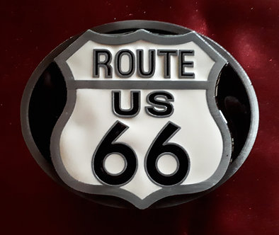 Route 66 Enamel Belt Buckle