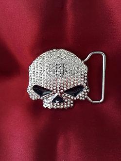Rhinestone Skull Belt Buckle