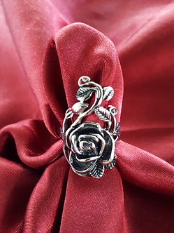 Single Rose Stainless Steel Ring