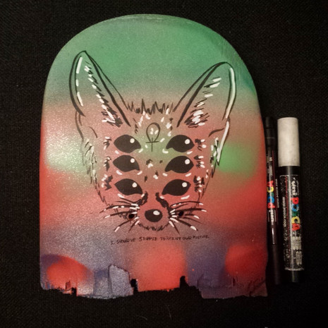 Spray painted and posca   repurposed broken skateboard
