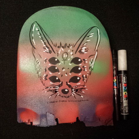 Spray painted and posca   repurposed broken skateboard